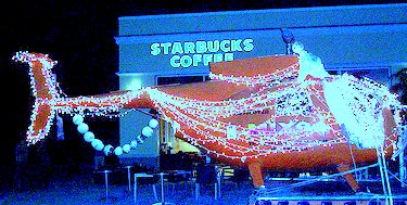 Tampa , Helicopter in Front of Starbucks