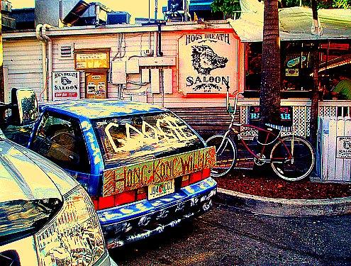 Hong Kong Willie Google Car at  Hog's Breath in Key West. Green artist