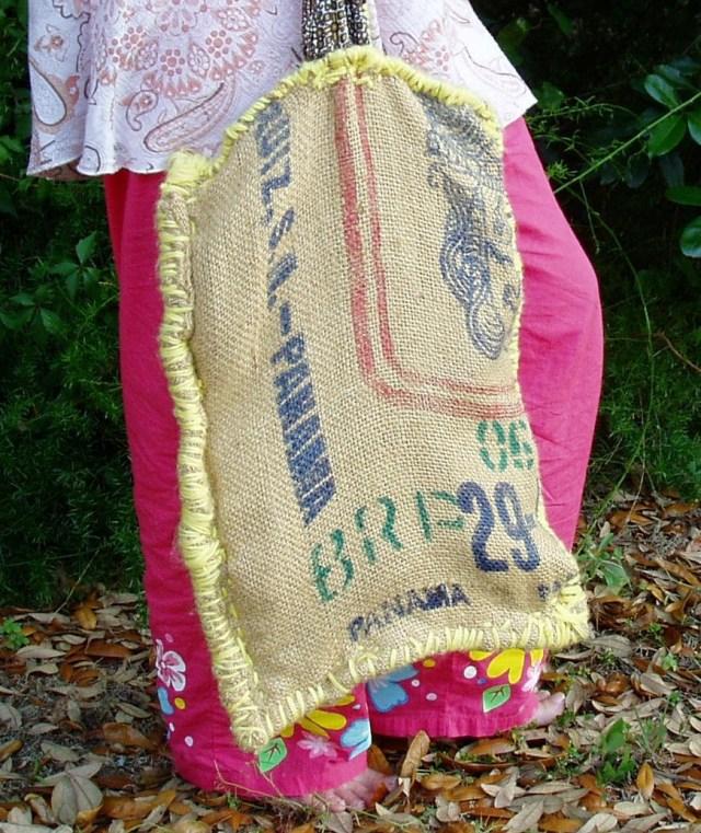 Handbags made from Burlap.